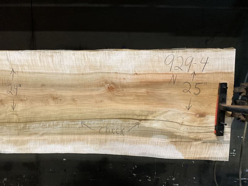 curly maple slab 929-4 narrow face, right side