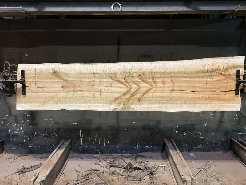 Curly Maple Slab 929-5, surfaced size 1 5/8″ x 23-31″ avg. 25″ x  9′ $1050