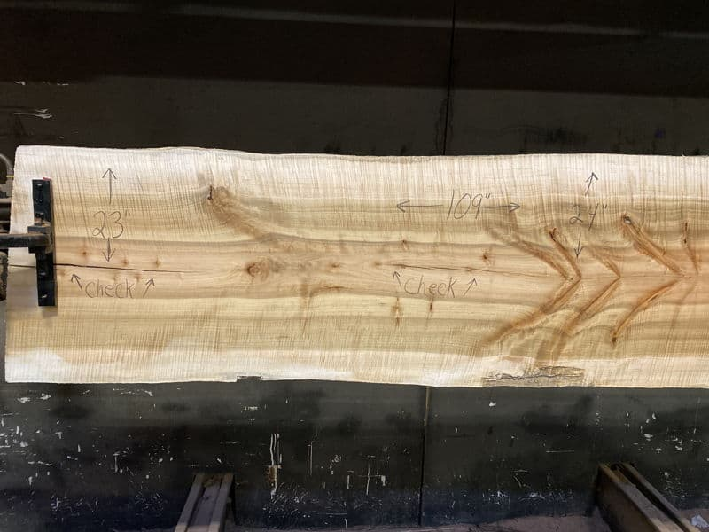 surfaced curly maple slab 929-5 narrow face, left side