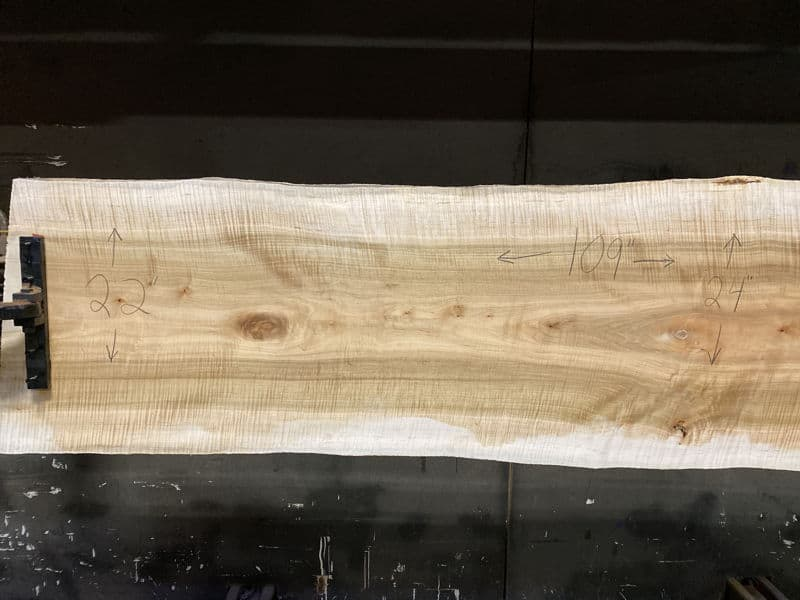 curly maple slab 929-6 narrow face, left side