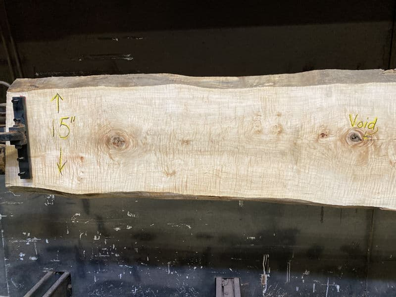 curly white maple slab 929-9-narrow face, left side