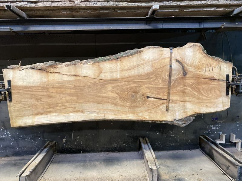 ash slab 1191-4 rough size 2.5″ x 27-42″ avg. 32″ x 10′ $850