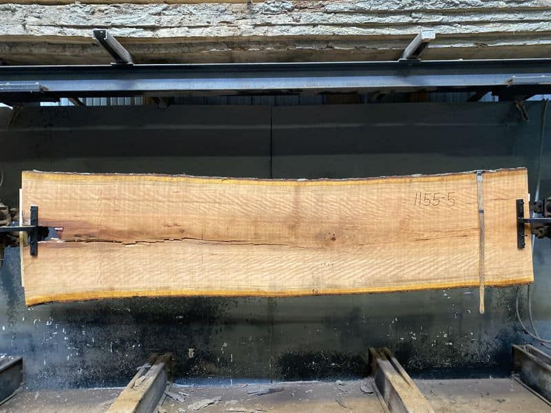curly cherry slab 1155-5 rough size 2.5″ x 27-31″ avg. 27″ x 10′ $975