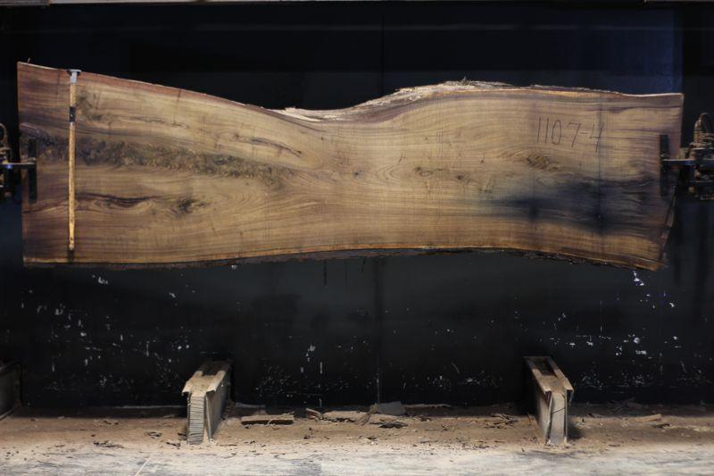 walnut slab 1107-4 rough size 2.5″ x 26-39″ avg. 32″ x 10′ $1075