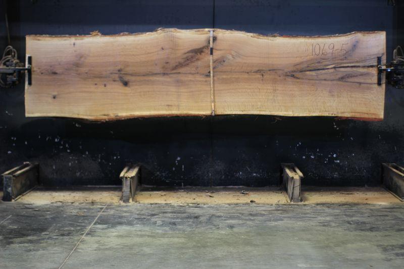 white oak slab 1069-5 rough size 2.5″ x 32-36″ avg. 34″ x 12′ $1025