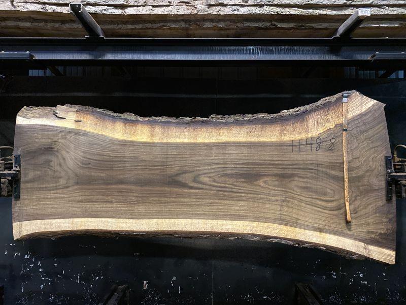 walnut slab 1148-8 rough size 2.5″ x 29-44″ avg. 32″ x 8′ SALE PENDING PO 21-8047