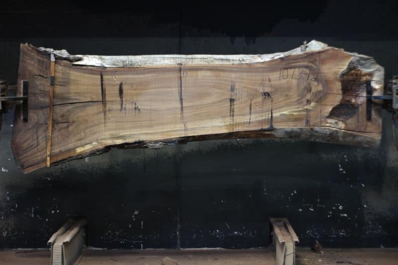 walnut slab 1073-12 rough size 2″ x 21-34″ avg. 24″ x 9′ $750