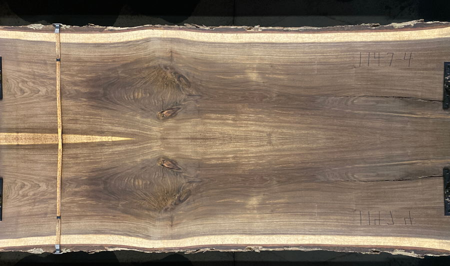 walnut slabs 1147-3&4 bookmatch simulation, Approx. size 2″ Thick x 60″ wide x 10' long $2700SALE PENDING PO 21-8047