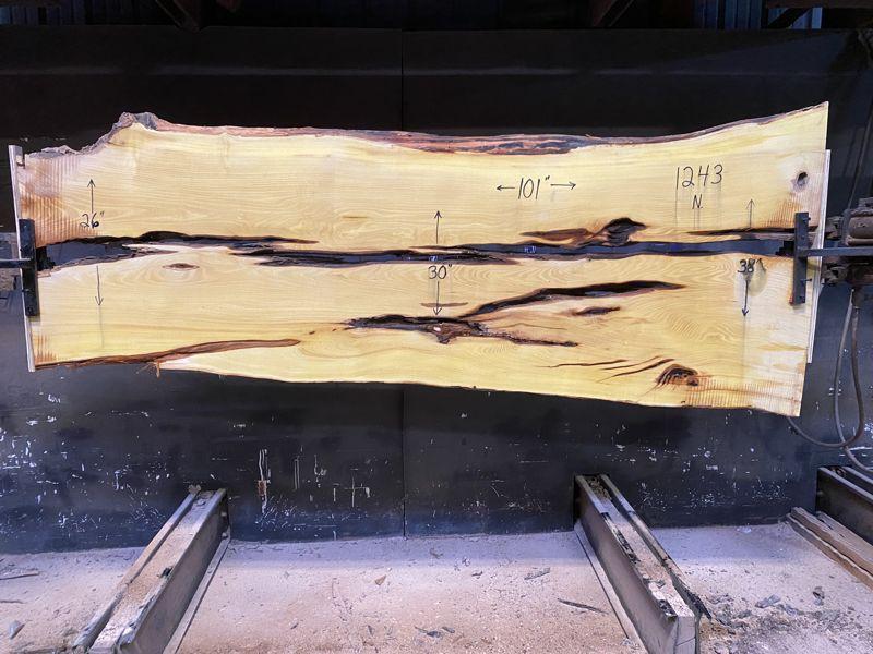 osage orange slab 1243 surfaced size 1.75″ x 26-38″ avg. 30″ x 8′ $1200