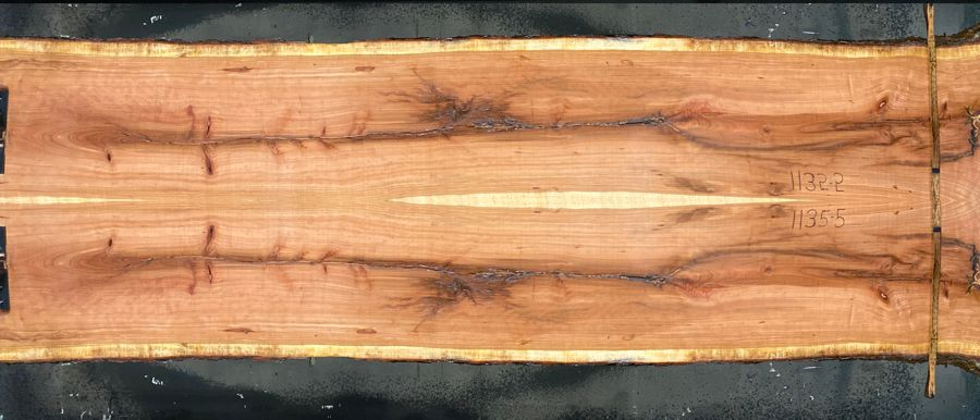 Cherry slabs 1135-4&5  simulation, approx. size 1.75″ x 46″ x 12′ Both Rough Slabs $1750