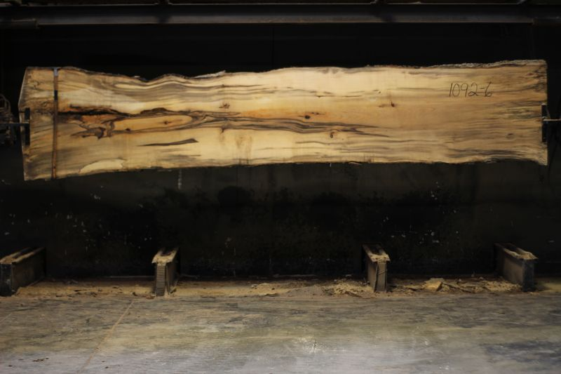 spalted hackberry slab 1092-6 rough size 2″ x 28-35″ avg. 30″ x 14′ $950