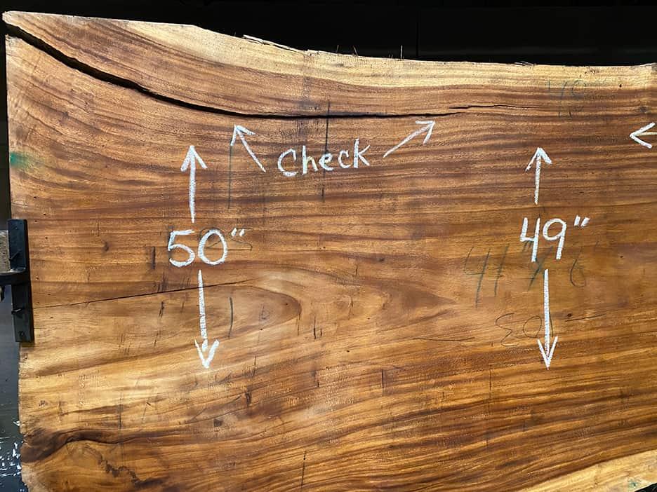Parota slab 725-1 Surfaced 100 grit size 2.25″ x 41-51″ avg. 47″ x 8′ $1500