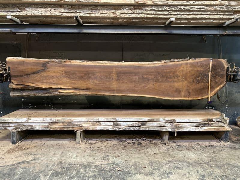 walnut slab 1186-2 rough size 2.5″ x 22-34″ avg. 27″ x 15′ $1100