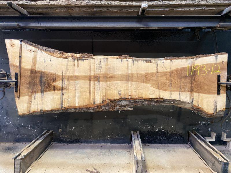 pecan slab 1193-12 rough size 2.5″ x 23-46″ avg. 23″ x 10′ $875