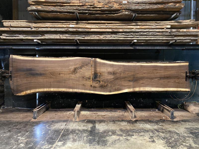 walnut slab 1168-7 rough size 2.5″ x 34-50″ avg. 39″ x 18′ $5700