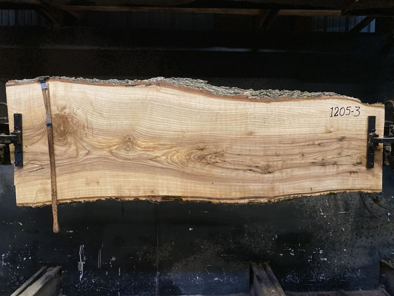 ash slab 1205-3 rough size 2.5″ x 20-27″ avg. 23″ x 7′ $650