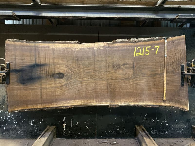 walnut slab 1215-7 rough size 2.5″ x 35-40″ avg. 36″ x 8′ $2050