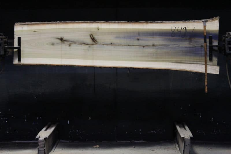 Poplar slab 892-6 rough size 2″ x 19-25″ avg. 21″ x 8′ $450