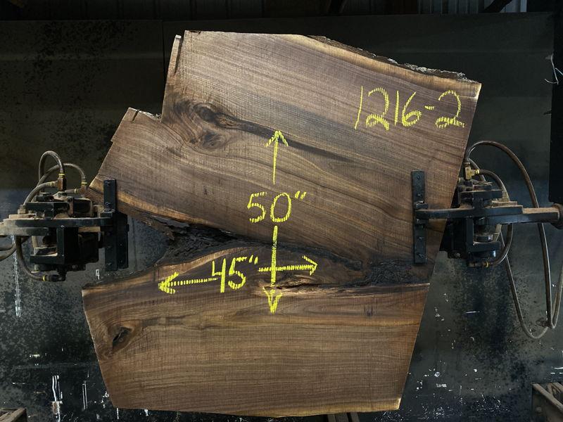 walnut slab 1216-2 rough size 2.5″ x 45″ x 50″ $450