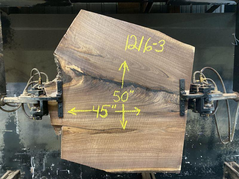 walnut slab 1216-3 rough size 2.5″ x 45″ x 50″ $575