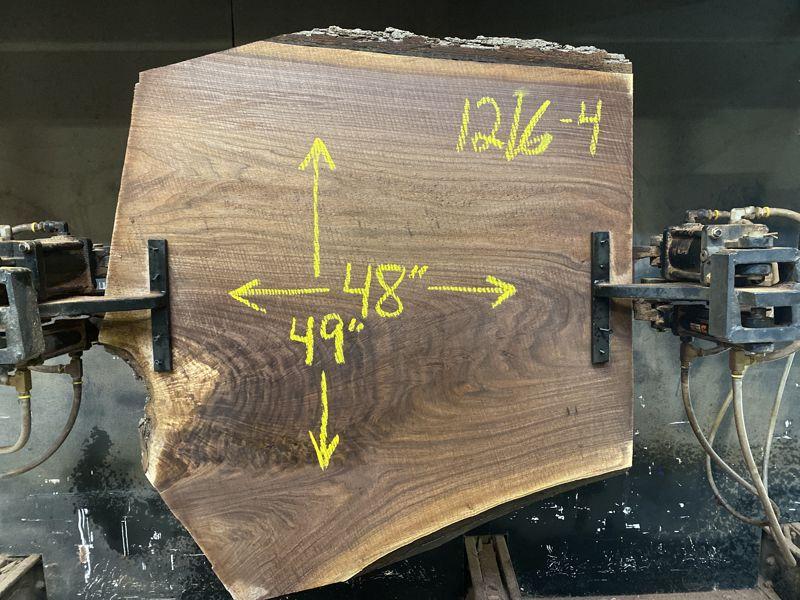 walnut slab 1216-4 rough size 2.5″ x 48″ x 49″ $650
