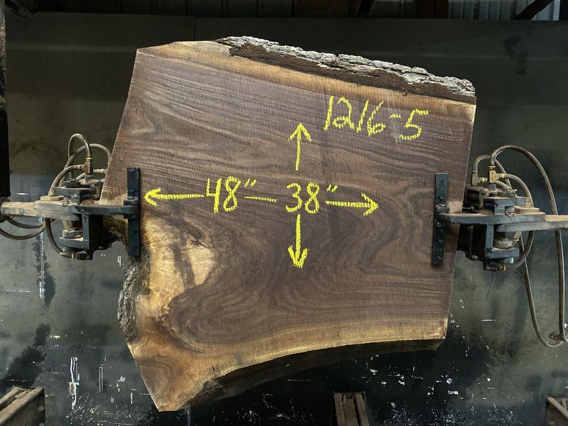 walnut slab 1216-5 rough size 2.5″ x 38″ x 48″ $500 sale pending PO 21-8111 10-25-21