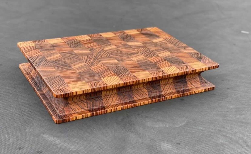 Zebrawood cutting board done by Kyle at East Texas Grain and Knot