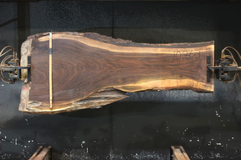 walnut slab 1026-1 rough size 2.5″ x 18-37″ avg. 21″ x 7′ $650