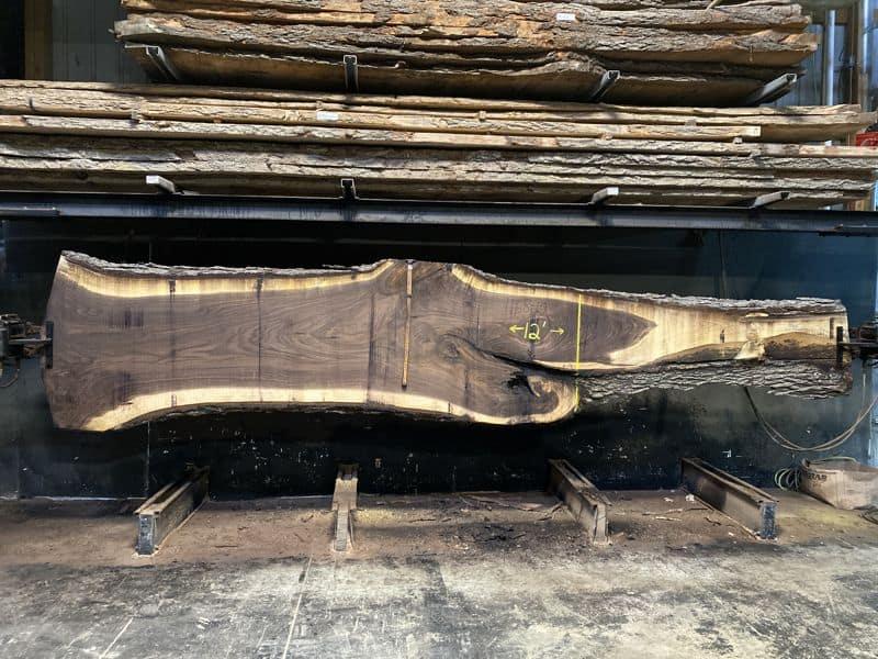walnut slab 1168-10 rough size 2.5″ x 33-43″ avg. 37″ x 12′ $2150