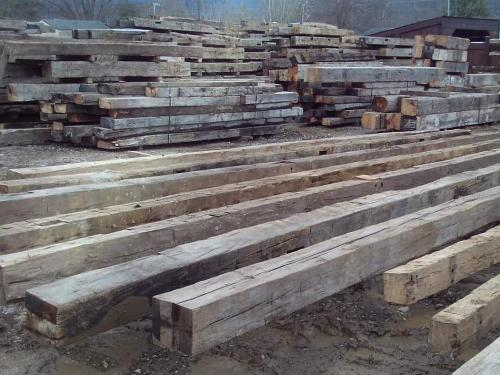 Reclaimed Hand Hewn Appalachian Hardwoods.  Some with lengths over 20 feet long!